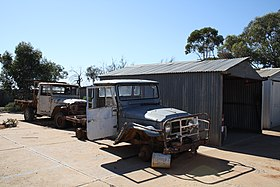 Wrecked Toyota Land Cruiser vehicles at Cook, South Australia, in 2011.jpg
