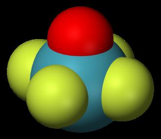 Square pyramidal molecular geometry - Structure of xenon oxytetrafluoride, an example of a molecule with the square pyramidal coordination geometry.