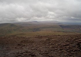 Y Gyrn, Fan Fawr, Fan Gyhirych, and Fan Brycheiniog (seen from Corn Du, 2005).jpg