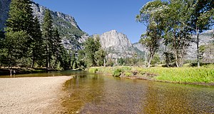 Merced River - Merced River in Yosemite Valley photographed from Swinging Bridge