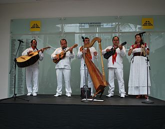Music of Mexico - Son Jarocho group Zarahuato performing at the Museo de Arte Popular.