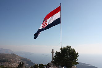 Flag of Croatia - The largest flying flag in Croatia, atop the Srđ mountain over the city of Dubrovnik