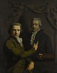 Willem Bartel van der Kooi: Self Portrait Pointing to the Portrait of his deceased Colleague Dirk Jacobs Ploegsma