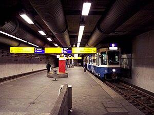 Verkehrsbetriebe Zürich - A station built for the abortive U-Bahn