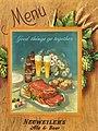 """""""Good things go together"""" """"MENU"""" """"NEUWEILER'S Ale & Beer"""" Menu art detail, from- 1945 - Neuweiler Brewery - Beer Menu - Allentown PA (cropped).jpg"""