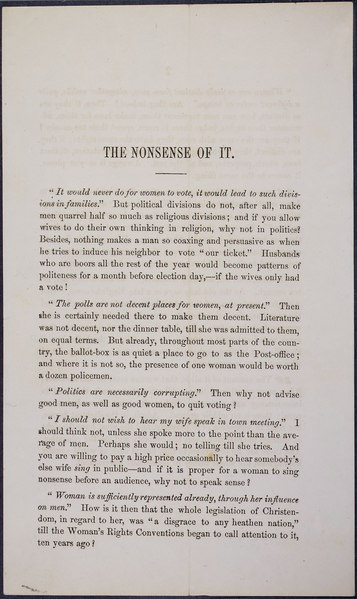 "File:""The Nonsense of It,"" a printed pamphlet arguing for woman suffrage.djvu"