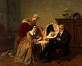 """The physician's verdict"". Oil painting by Emile Carolus Lec Wellcome V0017572.jpg"