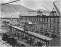"""""""The west side placing trestles showing 2 cantilever-type or Hammerhead cranes and 2 Whirley cranes used for handling... - NARA - 294309.tif"""