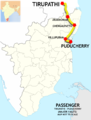 (Puducherry - Tirupathi) Passenger route map.png