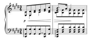 Étude in C-sharp minor, Op. 2, No. 1 (Scriabin) - The first few bars of Scriabin's Étude Op. 2 No. 1