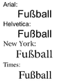 ß in Arial Helvetica NewYork Times.png