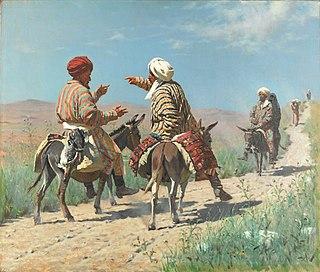 Мулла Рахим и мулла Керим по дороге на базар ссорятся, 1873
