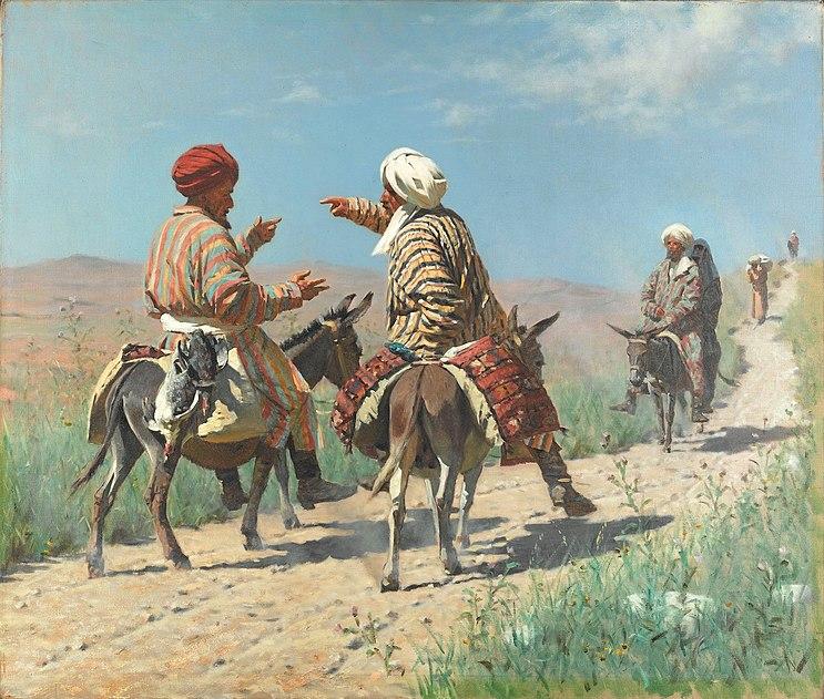 Василий Верещагин, Мулла Рахим и мулла Керим по дороге на базар ссорятся, 1873