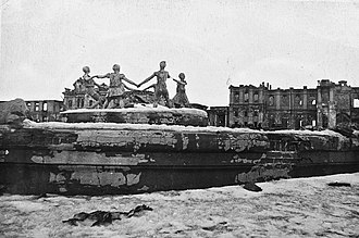 Battle of Stalingrad - The Barmaley Fountain, one of the symbols of Stalingrad, in 1943, right after the battle