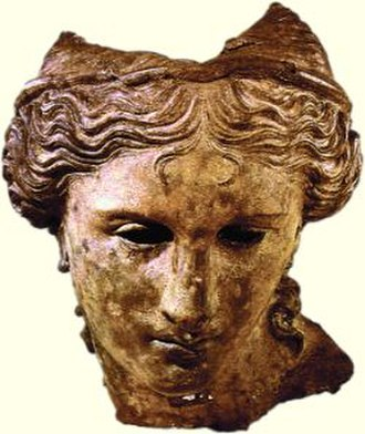 Anahit - Armenian stamp with the image of the cast bronze head (1th century BC), larger than life-size, once belonging to a statue. It was found in the 19th century near Satala, located close to the Armenian district of Erez/Yerznka. It is usually interpreted as representing either Anahit or Aphrodite. Now held in the British Museum.