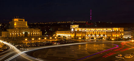 Lenin Square (Now Republic Square) was the main square of Yerevan from 1926 to 1991 Hanrapetowt`yan Hraparak.jpg