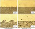 تصویری از محل اتصال دو فلز در نقطهی جوش در جوشکاری انفجاری.png
