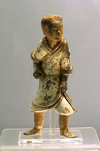 Emperor Guangwu of Han - An Eastern Han (25-220 AD) Chinese ceramic figurine of a soldier with a missing spear