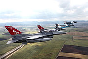 100th Fighter Squadron F-16s with Romanian Air Force MiG-21s