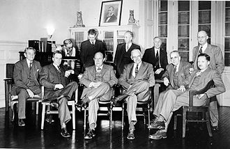 Herbert Girton Deignan - 108th meeting of the Baird Ornithological Club in Holt House, the original administration building of the National Zoological Park on January 14, 1948. The club was named in honor of Spencer F. Baird, second Secretary of the Smithsonian (1878-1887) and noted ornithologist. Present are (seated, left to right) Paul Bartsch, Frederick C. Lincoln, Herbert Friedmann, Alexander Wetmore, Clarence Cottam, John Warren Aldrich, (standing, left to right) Director of the Zoo William M. Mann, Herbert Girton Deignan, Hartley H.T. Jackson, Philip Reese Uhler, and Ernest P. Walker.