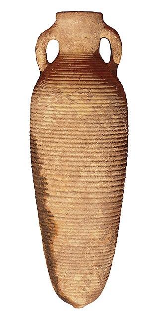 Zafar, Yemen - Late Roman period amphora from Zafar originated at Aqaba, Jordan.