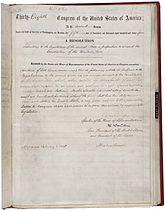 Le document original du 13e amendement à la Constitution
