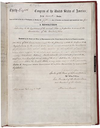 Thirteenth Amendment to the United States Constitution - Amendment XIII in the National Archives, bearing the signature of Abraham Lincoln