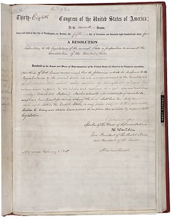 English: 13th Amendment of the nited States Co...