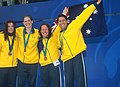 141100 - Swimming 4 x 100m freestyle 34pts Gemma Dashwood Amanda Fraser Melissa Carlton Priya Cooper bronze medals - 3b - 2000 Sydney medal photo.jpg