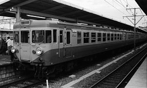 155 series - A 155 series set on an Izu service in August 1974, still in original school excursion train livery