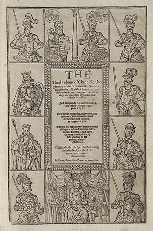 The 1587 edition of Holinshed's Chronicles 1587 printing of Holinshed's Chronicles (crop 1).jpg