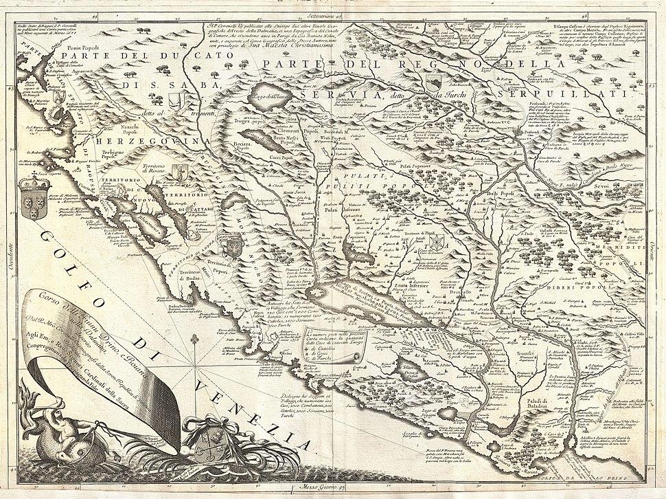 1690 Coronelli Map of Montenegro - Geographicus - Montenegro-coronelli-1690