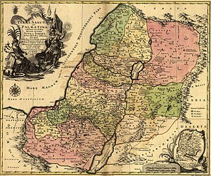 Tel Dor - 1759 map of the Holy Land and 12 tribes, showing Dor as part of Manasseh