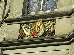 Swedish Empire - Sweden's coat of arms (with erroneous tinctures) on a wall of City Hall at Lützen in Germany