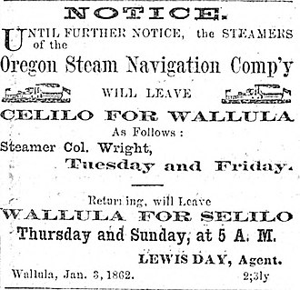 Oregon Steam Navigation Company - Image: 1863 newspaper advertisement for steamer Colonel Wright