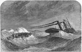 PS Lelia - Upsetting of the Liverpool lifeboat on her way to rescue the crew of the Lelia