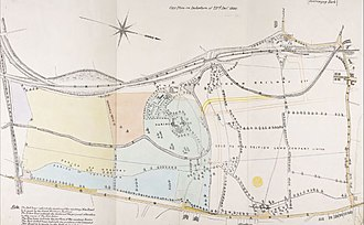 History of Harringay (1750–1880) - A plan from 1880 showing the extent of Harringay House and parkland. Marking for new roadways being planned in preparation for the development of the area are clearly shown.