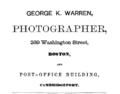 1874 George K Warren photographer advert 289 Washington Street in Boston.png