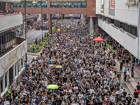 Tens of thousands marched in Sha Tin near New Town Plaza on 14 July. 190714 HK Protest Incendo 29.jpg