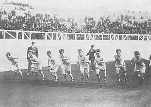 Athletics at the 1908 Summer Olympics – Men's 1500 metres - The start of the final.