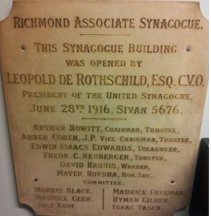 Richmond Synagogue - Image: 1916 Richmond synagogue plaque