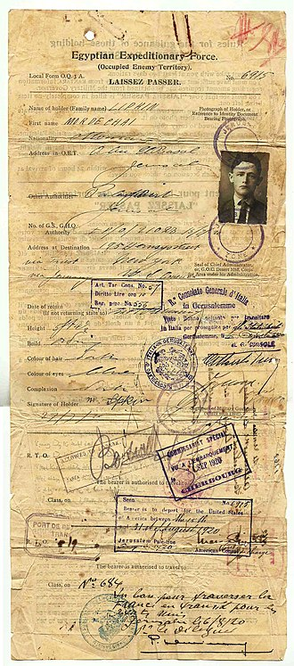 Egyptian Expeditionary Force - 1920 EEF laissez passer, travel document, issued at Jerusalem, British Mandate.