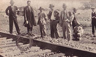 "Sabotage - Japanese experts inspect the scene of the ""railway sabotage"" on the South Manchurian Railway in 1931. The ""railroad sabotage"" was one of the events that led to the Mukden Incident and the Japanese occupation of Manchuria."