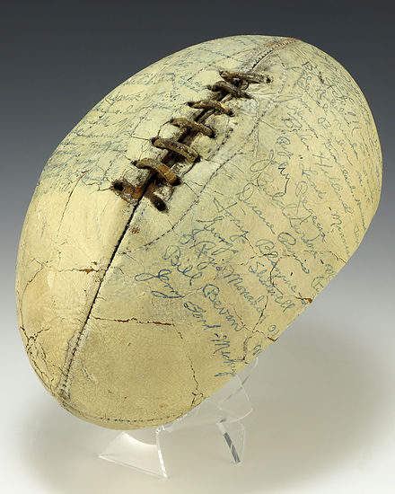 A football signed by the members of the 1935 Collegiate All-Star Team, including Gerald Ford. 1935 All-Star Collegiate Football (1989.222).jpg