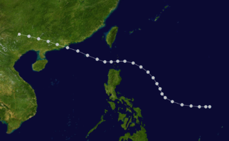 1937 Great Hong Kong typhoon - Map plotting the track and intensity of the storm according to the IBTrACS.