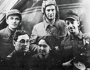 Belorussia, 1943. A Jewish partisan group of the Chkalov Brigade. 1943 Belorussia Jewish resistance group.jpg