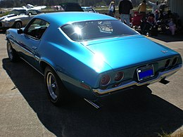 1972 blue Chevrolet Camaro Turbo 350 rear side.JPG