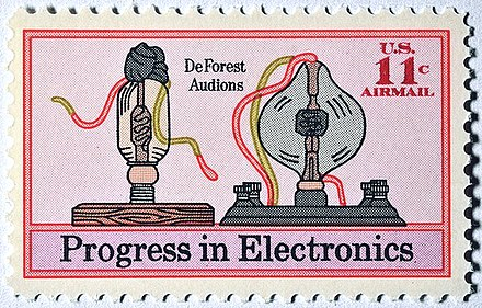 1973 postage stamp honoring De Forest's audion 1973 airmail stamp C86.jpg