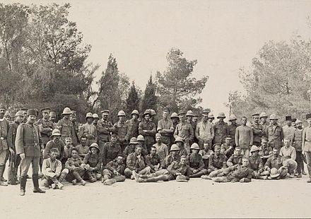 British prisoners guarded by Ottoman forces after the battle 1stGazaBritishPrisoners00118v.jpg
