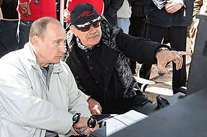 Nikita Mikhalkov - Mikhalkov with Russian Prime Minister Vladimir Putin on the set of the movie Burnt by the Sun 2 in Leningrad Oblast on 13 May 2008
